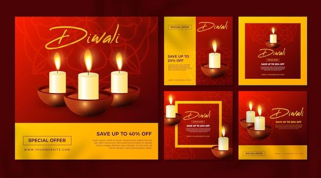 Publicaciones de venta de instagram de vacaciones de diwali