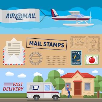 Publicar banners horizontales de servicio con sellos de correo de transporte aéreo y entrega rápida ilustración vectorial aislado