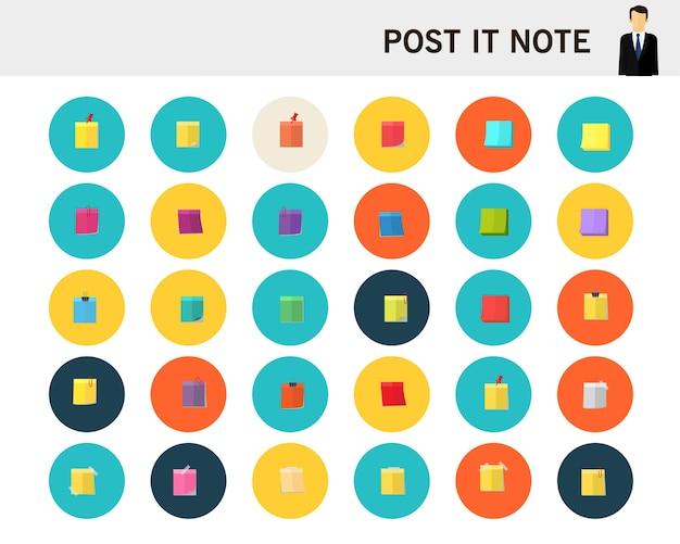 Publicarlo nota concepto iconos planos.