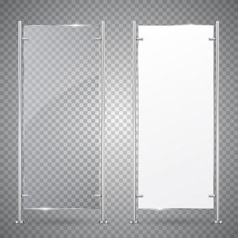 Publicidad 3d soporte vertical de vidrio y bandera blanca en blanco.