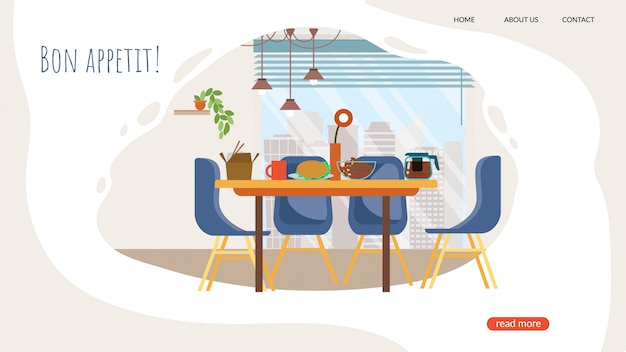Publicidad banner bon appetit letras de dibujos animados.