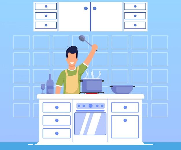Publicidad banner cocina cena dibujos animados plana.