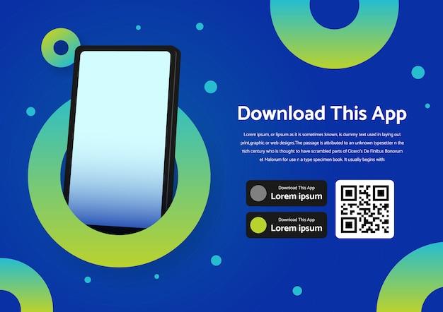 Publicidad de banner de página para descargar la aplicación para teléfono móvil, teléfono inteligente con concepto de círculo de color.