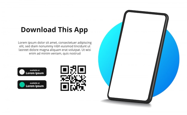 Publicidad de banner de página para descargar la aplicación para teléfono móvil, teléfono inteligente. descargar botones con escanear plantilla de código qr.