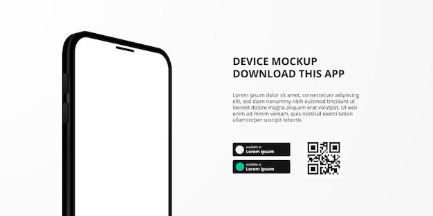 Publicidad de banner de página de destino para descargar la aplicación para teléfono móvil, maqueta de dispositivo de teléfono inteligente 3d. descargar botones con plantilla de escaneo de código qr.