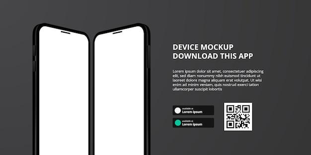 Publicidad de banner de página de destino para descargar la aplicación para teléfono móvil, maqueta de dispositivo de teléfono inteligente espejo 3d. descargar botones con plantilla de escaneo de código qr.