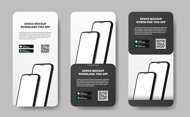 Publicidad en banners de historias de redes sociales para descargar aplicaciones para teléfonos móviles, teléfonos inteligentes dobles. descargar botones con plantilla de escaneo de código qr. teléfono en perspectiva 3d