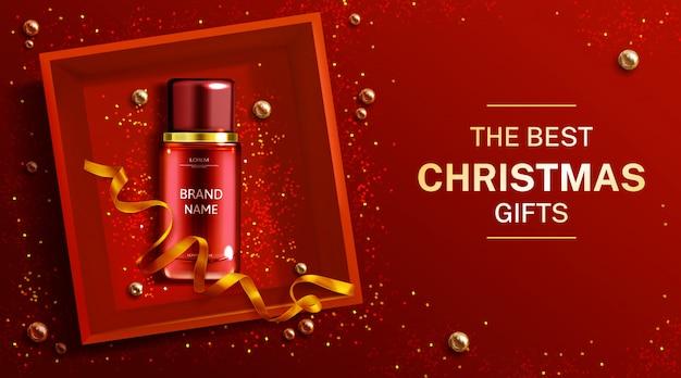 Publicidad de la botella de cosméticos, productos de belleza