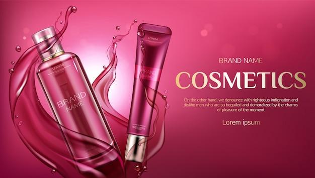 Publicidad de botellas cosméticas, banner de productos de belleza para el cuidado de la piel