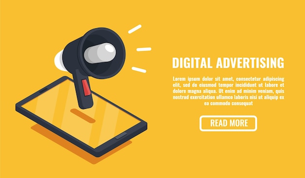 Publicidad digital, dispositivo móvil, teléfono inteligente con altavoz