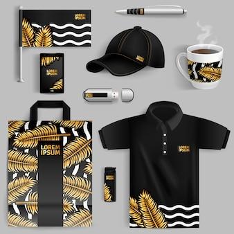 Publicidad de identidad corporativa con hojas de palma de oro.