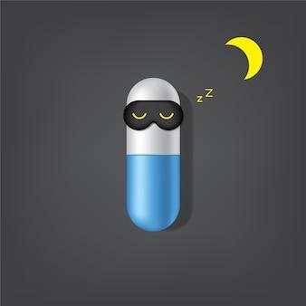 Publicidad insomnio, insomnio cápsula medicina fondo
