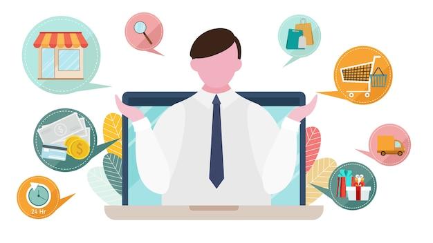 Publicidad en internet y conceptos de marketing online.
