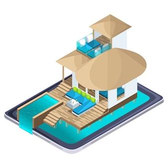 Publicidad isométrica del resort en el teléfono inteligente de maldivas, concepto de viajes publicitarios brillantes, búsqueda en línea de hoteles de lujo