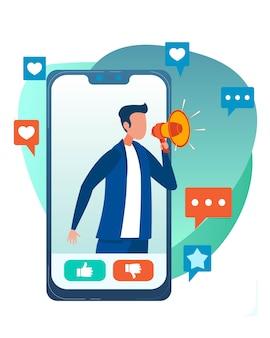 Publicidad móvil a través de red social plana de dibujos animados