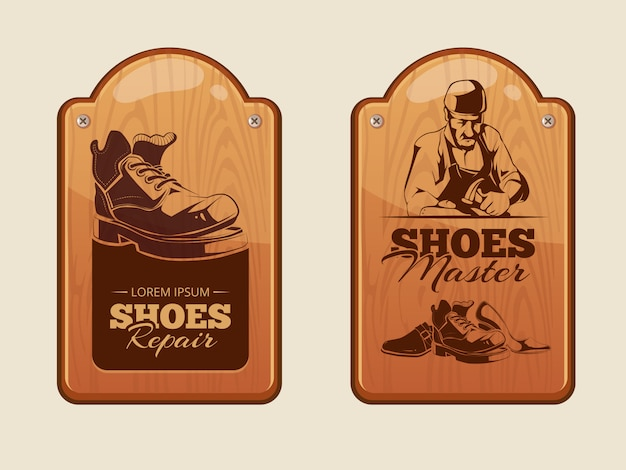 Publicidad paneles de madera para taller de reparacion de calzado