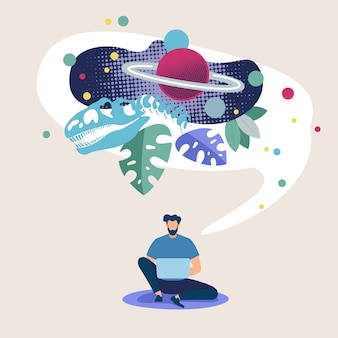 Publicidad poster space exploration online flat.