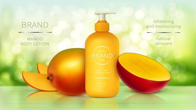 Publicidad realista de cosméticos de mango tropical