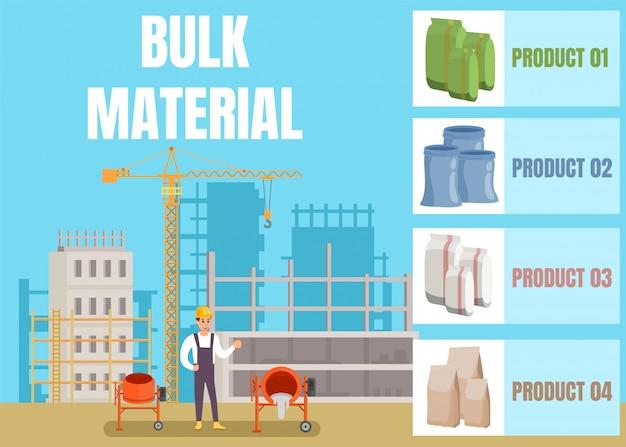 Publicidad de la tienda de materiales de construcción a granel