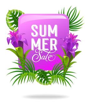 Publicidad de venta de verano con flores y hojas tropicales.