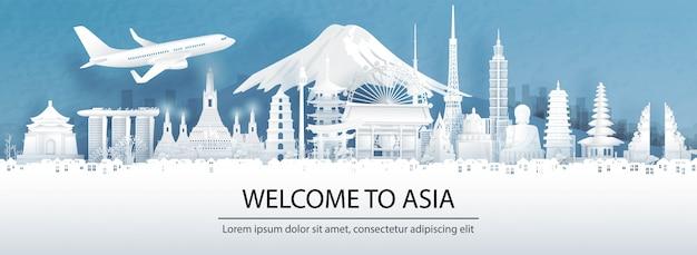 Publicidad de viajes con concepto de viaje a asia con vista panorámica