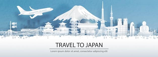Publicidad de viajes con concepto de viaje a japón con vista panorámica