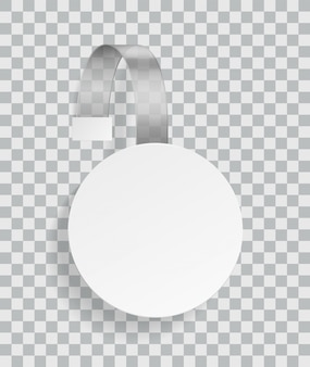 Publicidad wobbler. promoción plástico blanco redondeado descuento etiqueta vacía para exhibidor en supermercado con plantilla de vector de sombras