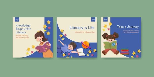 Publicite la plantilla con el diseño de concepto del día internacional de la alfabetización para la acuarela de marketing empresarial.