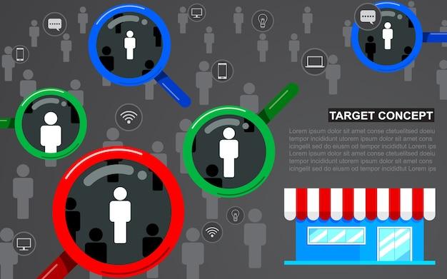 Público objetivo, cliente de enfoque. lupa, tienda de diseño plano, icono de negocio