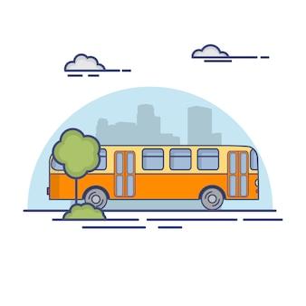 Público retro de la ciudad de autobuses