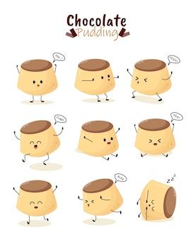 Pudín de chocolate pastel crema postre panadería ilustración personaje icono animación dibujos animados mascota expresión