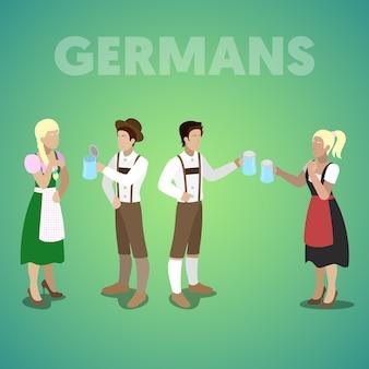 Pueblo alemán isométrico en ropas tradicionales. vector ilustración plana 3d