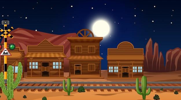 Pueblo en escena del desierto