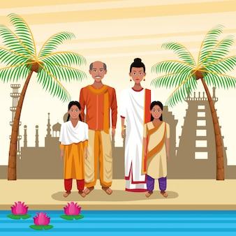Pueblo étnico indio dibujos animados en la ciudad