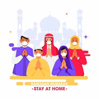 Pueblo islámico haciendo namaste con máscara de seguridad en ocasión del ramadán mubarak quédate en casa