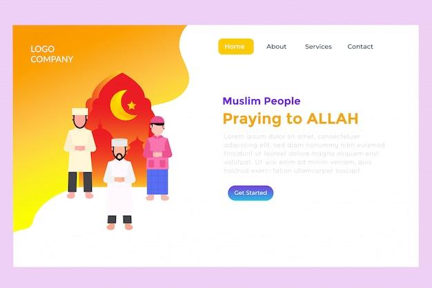 Pueblo musulmán rezando página de destino