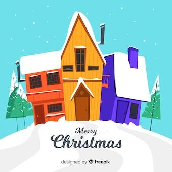 Pueblo de navidad en diseño flat