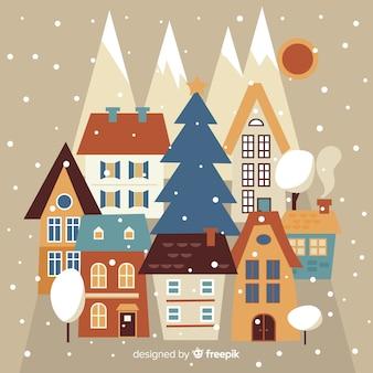 Pueblo de navidad en estilo flat