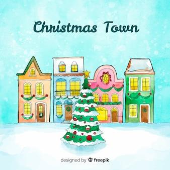 Pueblo navideño adorable en acuarela