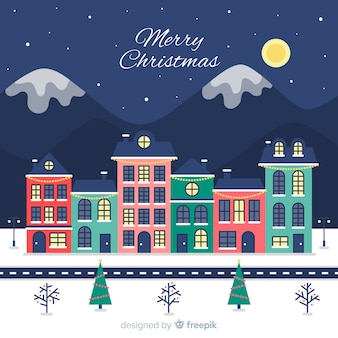 Pueblo navideño adorable dibujado a mano