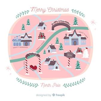 Pueblo navideño adorable con diseño vintage