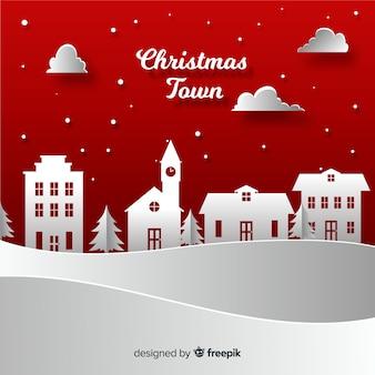 Pueblo navideño adorable con estilo de papel