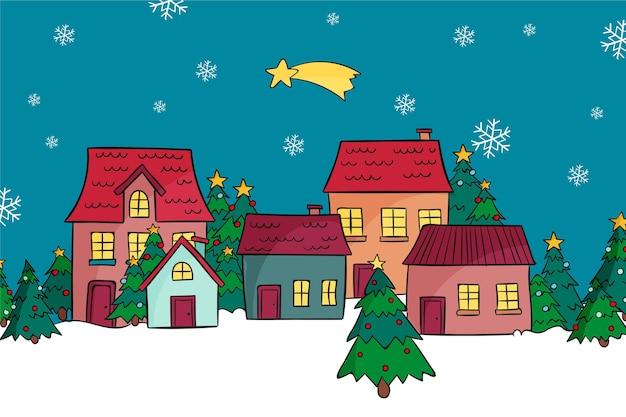 Pueblo navideño dibujado a mano