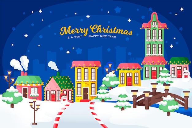 Pueblo navideño dibujado en la noche