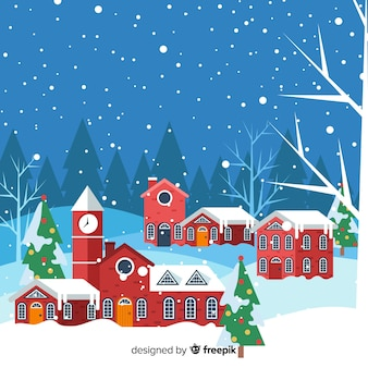 Pueblo navideño en diseño plano