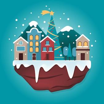 Pueblo navideño de diseño plano