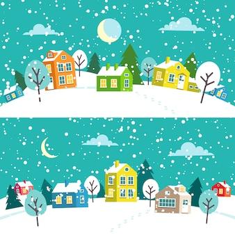 Pueblo navideño de invierno. paisaje nevado del pueblo