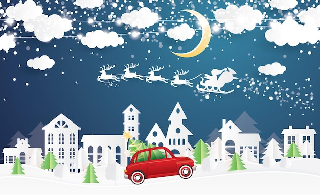 Pueblo navideño y papá noel en trineo en estilo de corte de papel. árbol de navidad rojo del transporte del camión. paisaje de invierno con luna y nubes. ilustración de vector. feliz navidad y próspero año nuevo.