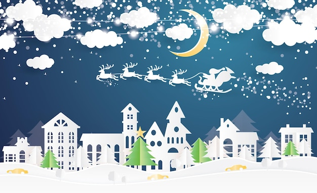 Pueblo navideño y papá noel en trineo en estilo de corte de papel. paisaje de invierno con luna y nubes. ilustración de vector. feliz navidad y próspero año nuevo.