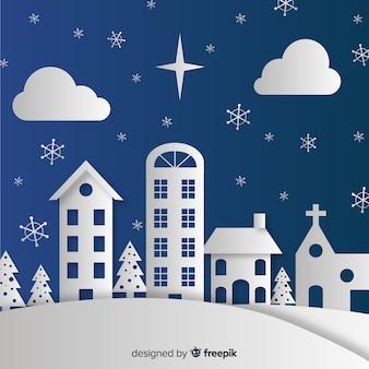 Pueblo navideño en papel